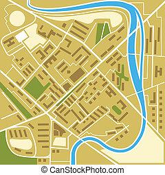 ciudad, resumen, ilustración, mapa
