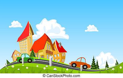 ciudad, resumen, paso, coche