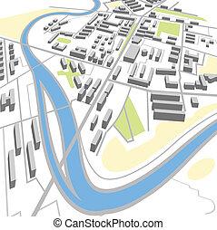 ciudad, resumen, perspectiva, mapa