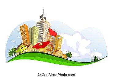 ciudad, resumen, vector, -, verano