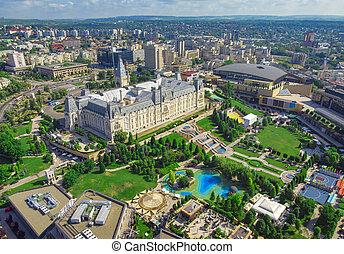 ciudad, rumania, aéreo, palace., cultura, escena, iasi, vista