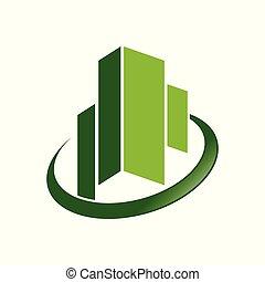ciudad, símbolo, comercial, verde, esmeralda, diseño