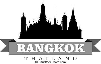 ciudad, símbolo, ilustración, bangkok, vector, tailandia