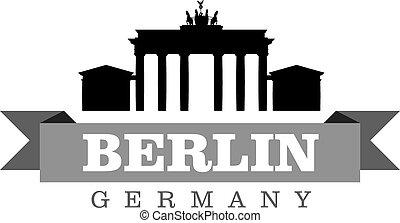 ciudad, símbolo, ilustración, berlín, vector, alemania