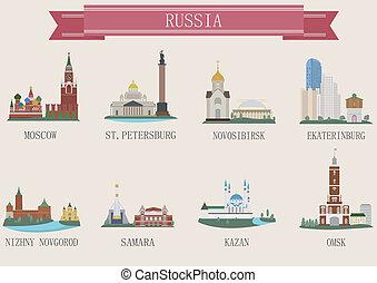 ciudad, símbolo., rusia