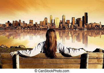 ciudad, salida del sol, vista