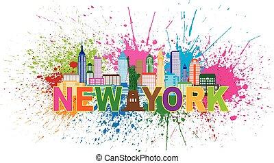 ciudad, salpicadura, ilustración, pintura, contorno, york, ...
