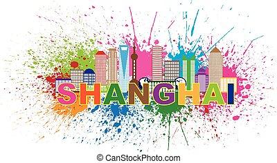 ciudad, salpicadura, shanghai, ilustración, pintura,...