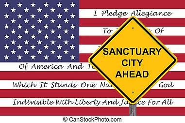 ciudad, santuario, adelante, -, señal, precaución