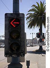 ciudad, señal, currently, céntrico, vuelta, controlador, calle, tráfico, flecha, dispositivo, esquina, 3-way, actuación, rojo, izquierda