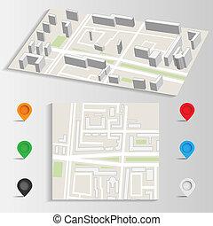 ciudad, señales, vector, mapa