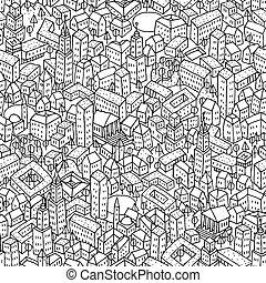 ciudad, seamless, patrón