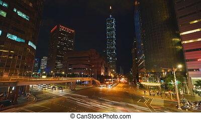 ciudad, senderos, céntrico, calle, tráfico, cityscape, esquina, taipei