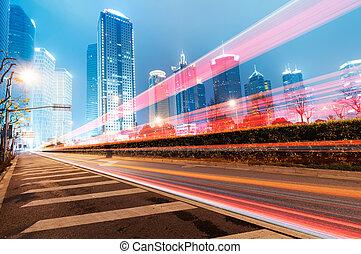 ciudad, shanghai, finanzas, zona, y, lujiazui, moderno, comercio, plano de fondo, noche