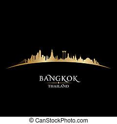 ciudad, silueta, bangkok, contorno, fondo negro, tailandia