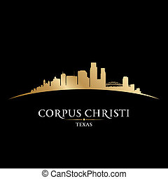 ciudad, silueta, christi, fondo negro, cuerpo, tejas