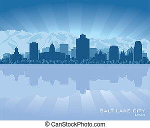 ciudad, silueta, ciudad, utah, lago, contorno, sal