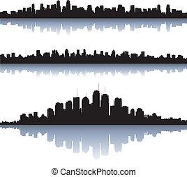 ciudad, silueta