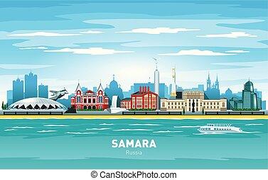 ciudad, silueta, color, samara, contorno, vector, rusia