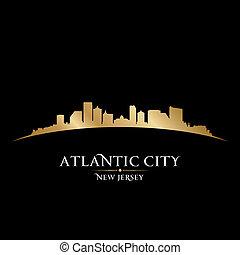 ciudad, silueta, contorno, atlántico, plano de fondo, negro...