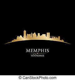 ciudad, silueta, contorno, negro de tennessee, plano de...