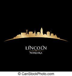 ciudad, silueta de lincoln, negro de nebraska, plano de...