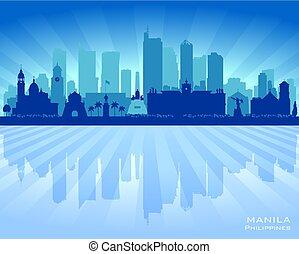 ciudad, silueta, filipinas, contorno, vector, manila