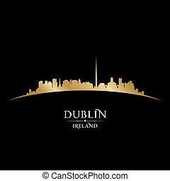 ciudad, silueta, irlanda, dublín, contorno, fondo negro