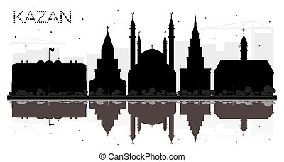 ciudad, silueta, kazan, contorno, negro, reflections.,...