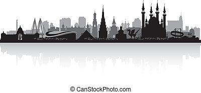 ciudad, silueta, kazan, contorno, vector, rusia