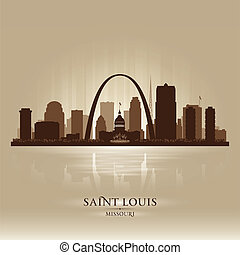 ciudad, silueta, louis, contorno, santo, misuri