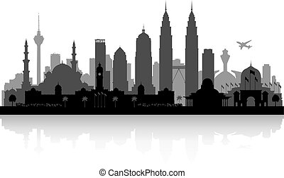 ciudad, silueta, malasia, contorno, kuala lumpur
