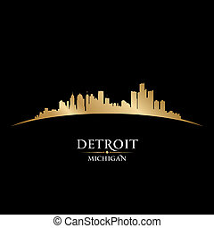 ciudad, silueta, michigan, detroit, contorno, fondo negro