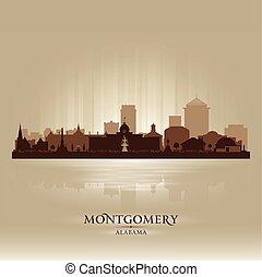 ciudad, silueta, montgomery, contorno, vector, alabama