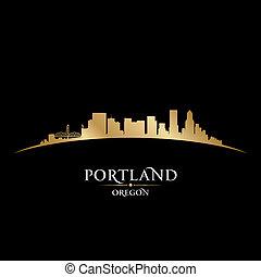 ciudad, silueta, oregón, contorno, fondo negro, portland