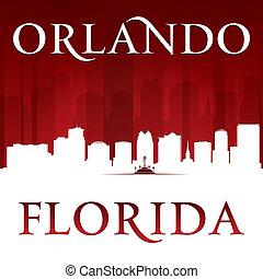 ciudad, silueta, orlando, florida, plano de fondo, rojo