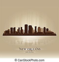 ciudad, silueta, orleans, contorno, nuevo, luisiana