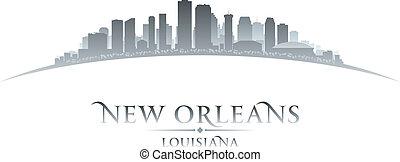 ciudad, silueta, orleans, contorno, plano de fondo, nuevo,...
