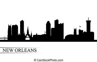 ciudad, silueta, orleans, contorno, plano de fondo, nuevo