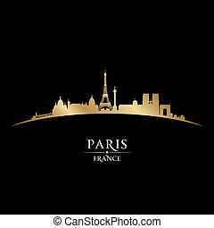 ciudad, silueta, parís francia, contorno, fondo negro