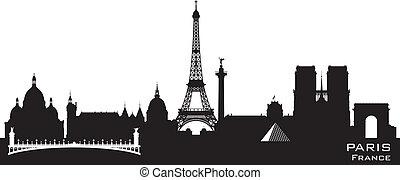 ciudad, silueta, parís francia, contorno, vector