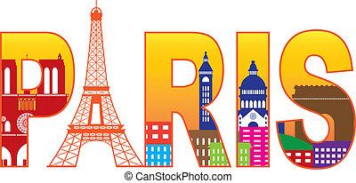 ciudad, silueta, parís, texto, eiffel, ilustración, color,...