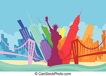 ciudad, silueta, resumen, contorno, rascacielos, nueva york