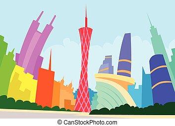 ciudad, silueta, resumen, guangzhou, contorno, china,...