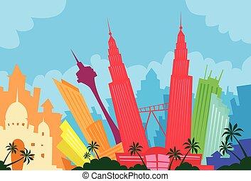 ciudad, silueta, resumen, malasia, contorno, rascacielos,...