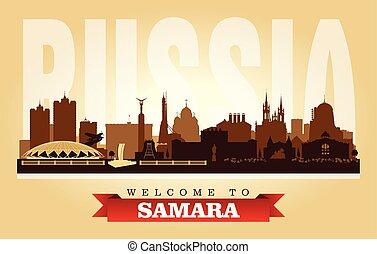 ciudad, silueta, samara, contorno, vector, rusia