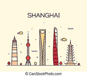 ciudad, silueta, shanghai, contorno, vector, arte, línea