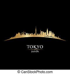 ciudad, silueta, tokio, contorno, fondo negro, japón