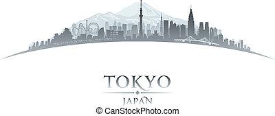 ciudad, silueta, tokio, contorno, plano de fondo, japón...