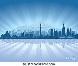ciudad, silueta, tokio, contorno, vector, japón